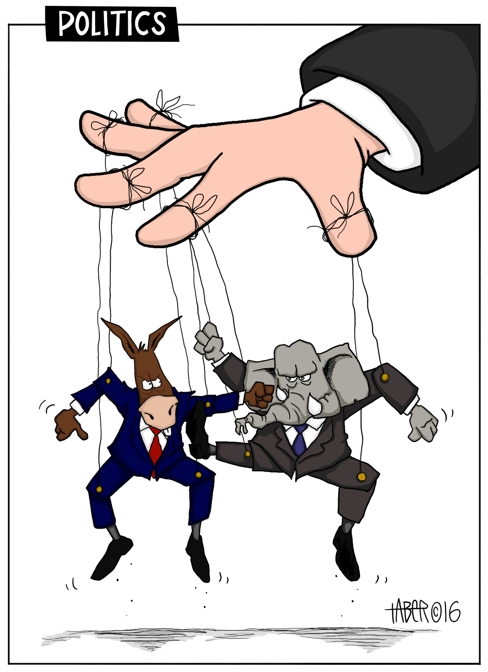 same puppetmaster controls both puppets